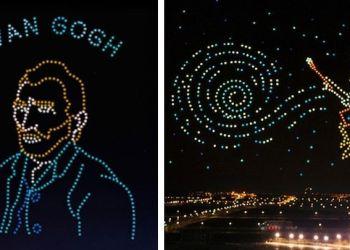«Φόρος τιμής στον Βαν Γκογκ» από Drones στον κινεζικό ουρανό