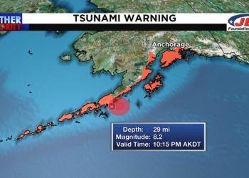 Σεισμός 8,2 Ρίχτερ Ανοιχτά Της Χερσονήσου Της Αλάσκας