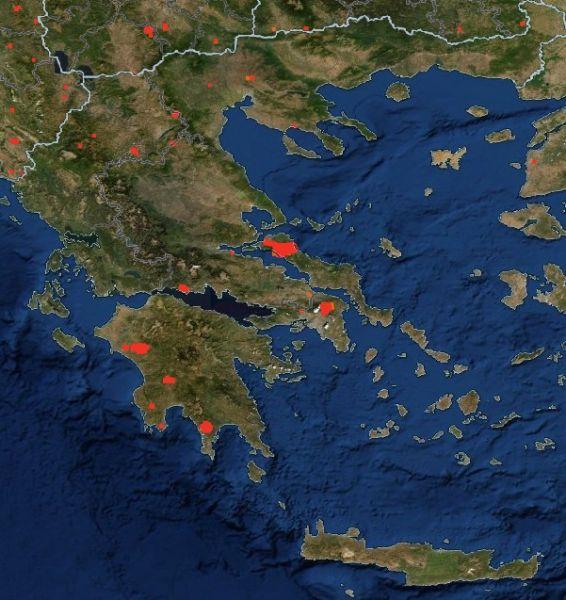 Η Ελλάδα φλέγεται: Απίστευτη απεικόνιση της Nasa με τις πυρκαγιές