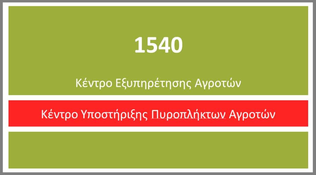 ΤΟ ΥΠΑΑΤ ΥΠΟΣΤΗΡΙΖΕΙ ΤΟΥΣ ΠΥΡΟΠΛΗΚΤΟΥΣ ΑΓΡΟΤΕΣ ΜΕΣΩ ΤΗΣ ΤΗΛΕΦΩΝΙΚΗΣ ΓΡΑΜΜΗΣ 1540